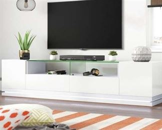 Latitude Run Lasker White Tv Stand For Tvs Up To 88""