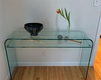 "ELEMENTARE CONSOLE TABLE W/GLASS SHELF 47.25""W X 14.06""DX29.31""H NEW $1,673.00. OUR PRICE $595.00"