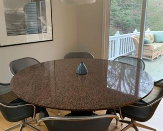 """CUSTOM GRANITE TABLE W/ CUSTOM BASE.  63"""" ROUND. GRANITE 1"""". NEW WAS $2200.  OURS $1250. LUTA REVOLVING CHAIR W/ LEATHER SEATS WERE $1046 EA. OURS $250/EA. SET $2500"""