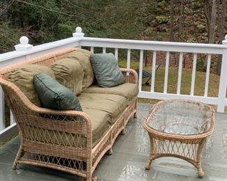 WICKER PATIO  SOFA AND TABLE WITH CUSHIONS $400.00