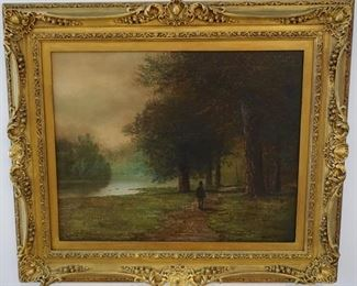 LOT 3: $1,250   (PICTURE 1 OF 6)  3.5FT X 3 FT                             19TH CENTURY ANTIQUE.  FRAMED IN NEW YORK.  ART SIGNED WITH EXQUISITE FRAME