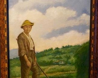 LOT 1: $800  (PICTURE 1 OF 6)  3' X 2' 19TH CENTURY FARMER ON CANVAS.  LANDSCAPE AND POSING FARMER WEARING HIS SOFT FELT HAT AND SACK COAT.  SIGNED BY VICTORIA ?.  ORIGINAL, ANTIQUE ART.