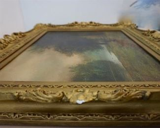 LOT 3: $1,250  (PICTURE 4 OF 6)  3.5FT X 3 FT                             19TH CENTURY ANTIQUE.  FRAMED IN NEW YORK.  ART SIGNED WITH EXQUISITE FRAME
