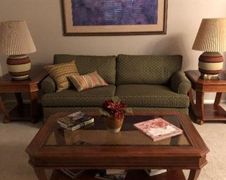 """A firm Sleeper sofa; Commercial Brand in Excellent condition.  Stucco Pottery Mid-Century matching table lamps with 3-way switches.  Side tables and coffee table also match the entry or  sofa table in another picture.  This completes a set of five pieces.  Picture on wall is a Matisse print measuring  58"""" by 42"""" height. It is large."""
