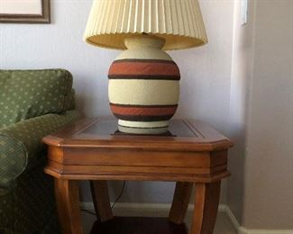 Terra Cotta stucco lamp set; mid-century modern.  3 way switch $40 ea or $70 set