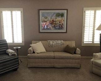 Sleeper Sofa $250; beige and white excellent condition. arm covers Stearns and Foster