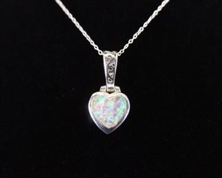 .925 Sterling Silver Inlayed Opal Heart Pendant Necklace