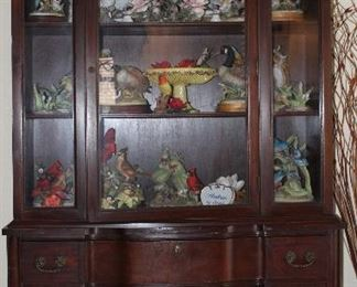Vintage Duncan Phyfe Style Mahogany China Cabinet Shown with Andrea by Sadek Porcelain Bisque Birds