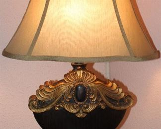 "Gold Decorated Table Lamp with Oval Flask Shape Shade (1 of 2 shown) 25""H"