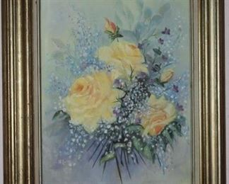 "Original Oil on Canvas Yellow Roses (16""x20"") in a 4"" Linen Lined Gold Leaf Frame"
