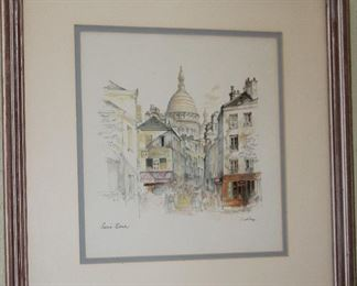 "Signed & Framed Lithograph, (18""x 19"" overall) Sacré-Cœur Basilica, Paris, France  By Artist Mads Stage,  a Danish artist. born in Copenhagen. (1922-2004)"
