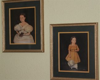 "Primitive Children Portraits by Artist Norma Schneeman(13""x 15"" overall)Framed & Matted Prints."