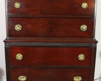 "Vintage Duncan Phyfe Style Mahogany 5-Drawer Chest on Chest (51"" H x 33""W x 18,5""D)"