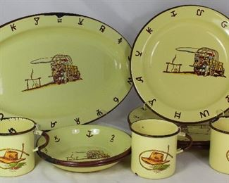 "Vintage Monterey Western Ware Made in Mexico Enamel Dinnerware Collection:  Platter (15.5""), Dinner Plates (Set of 4), Cereal/Soup Bowls (2 ea) and Coffee Mugs (3 ea.)"
