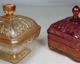 "Jeanette Glass Co. Vintage Iridescent Amber ""Oak Leaf and Acorn"" Finial Dome Lid Pedestal Candy Dish (6""Sq X 6.5""H) and Tiara ""Honey Bee"" Cranberry Honey Box with Finial Dome Lid (5.5"" Sq x 6""H)"