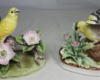 "Andrea by Sadek Porcelain Bisque ""Canary"" (6.5""H x 6""W) and ""Gold Finch"" with Thistles (6""W x 6""D)"