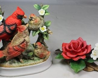 "Porcelain Bisque Made in Japan Cardinal Family Figurine (6.5""H x 7.5""W x 5""D)  Shown with Andrea by Sadek Porcelain Bisque Rose Figurine (4""H x 7""W)"