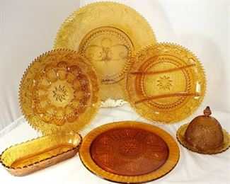 "Tiara ""Sandwich"" Amber Pattern Glass Collection (1971-1989:  Torte Plate 16""D, Deviled Egg Tray, Divided Relish , Pickle Dish, Cake Plate and Round Dome Lid Butter Dish"