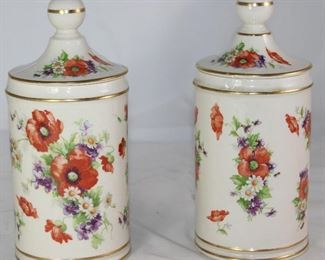 "Vintage Porcelain Apothecary Floral Canisters.       (9""H x 4""D"
