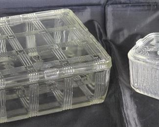 "Vintage Refrigerator/Leftovers Dishes:  Hazel Atlas ""Crisscross"" Square( 8.5"" ) Dish  and Federal Glass Intaglio Vegetables Lid (4"") Square Dish"