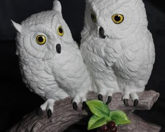 "Andrea by Sadek ""Owl"" Two White Owls on Perch Bisque Figurine ( 4 1/2"" D × 7 3/4"" H× 8"" W). Wood Base included but not shown."