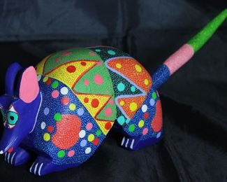 "Alebrije Wood Carved Brightly Hand Painted Armadillo (14""L x 5""H x 3.5""W) by Artist Macalino Melchior Roque from San Martin Tilcajeta Town in Oaxaca Mexico"