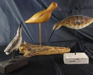 "Carved Wooden Wading Water Birds: Metal Feet on Wood Block Made in Philippines (9""H6""W), Bird on Dowel Rod w/Drift Wood Base Signed by Artist Betty Karisch (13""H x 13""W) and Hand Painted Bird (10""H9.5""W) on Metal Rod w/Wood Block Base"