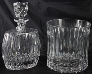 Block Heavy Crystal Decanter and Ice Bucket