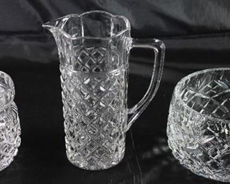 "Hand Cut Crystal:  Jam Jar (2 ea.), Small Cylindrical Pitcher (6""H) and  Round  Bowl (5""D x 3""H)"