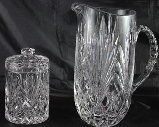 "Toscany Lead Crystal Small Canister/Biscuit Jar and ""Augusta"" by Toscany 52 oz. Pitcher"