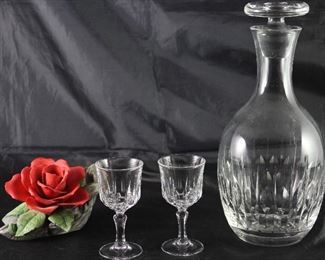 "Cristal D'Arques ""St. Germaine"" Crystal liqueur Stems (Set of 4) and ""Atlantis"" Cut Crystal Decanter.  Shown with Georgian Bisque Porcelain Red Rose"