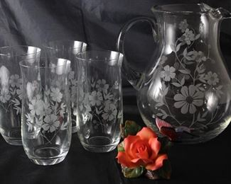 Vintage Floral Etched Crystal Iced Lip Pitcher and 4 Tumblers Shown with Y.H. (Yong Hong) Porcelain Rose with Butterfly