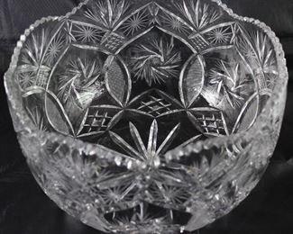 "Hand Cut Large  Lead Crystal Bowl (6.5""H x 11""D)"