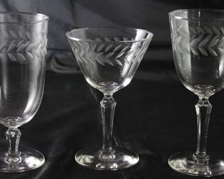 "Vintage ""Laurel Wreath"" Crystal: Iced Tea Goblets (8 ea), Wine/Water Goblets (7ea.) and Champagne/Tall Sherbets (6 ea.)"