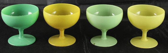 Mid Century Yellow and Green Glass Sherbets