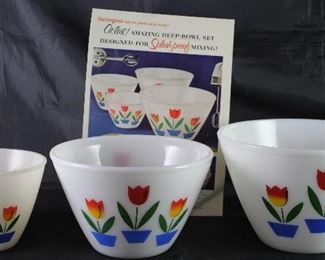 "Fire King ""Tulip"" Milk Glass Mixing Bowls Shown with an Original Good House Keeping Magazine Ad"