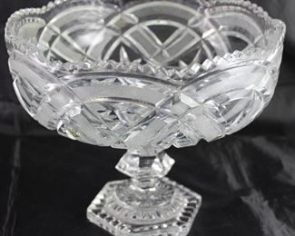 "Cut Lead Crystal Large Compote (9""D x 8""H)"