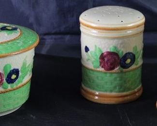 Vintage Made in Japan Hand Painted Grease  Drip Jar and Oversized Salt & Pepper Shakers