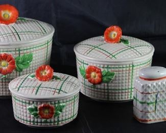 Made in Japan Hand Painted Orange and Green Plaid 3 pcs Jar Canister w/Orange Flower Finial Handle and Matching Salt & Pepper Shakers