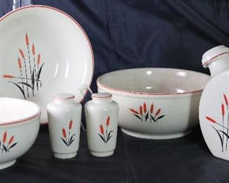 "Universal Pottery Depression Era  ""Cattails"" Vegetable Serving Bowl, 9"" & 7 1/2"" Mixing Bowls, Salt & Pepper Shakers and Canteen Jug w/Stopper"