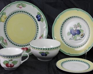 "Villeroy & Boch ""French Garden Fleurence"":  Dinner Plate (8), Rimmed Soup (8),  Flat Cup, Coupe Cereal Bowl (5), and B&B Plates(9)"