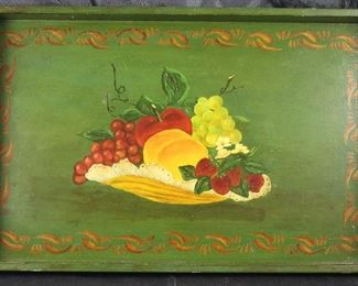 "Vintage Tole Hand Painted Wooden Tray (18""x 11.5"")"