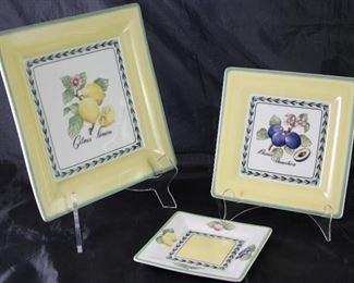 "Villeroy & Boch ""French Garden Fleurence"": Square 10.5"" Plate (1 ea), Square 8"" Salad Plates (9 ea.) and Square 6"" Dessert/B&B Plates (8 ea.)"