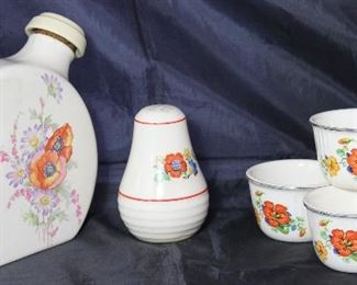 "Universal Pottery Depression Era:  ""Poppy"" Water Jug, ""Kitchen Bouquet"" Shaker and ""Nasturtiums"" Custard Cups (5 ea.)"