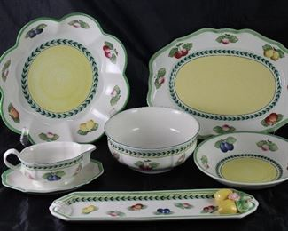 "Villeroy & Boch ""French Garden Fleurence"":  Scalloped Serving Bowl (12.5""), Oval Platter 14"", Round Serving Bowl (2 ea,), Gravy Boat with Attached Under-plate, Round 9"" Serving Bowl and Embossed Rectangular 16"" Tray"