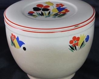 "Universal Pottery Depression Era ""Circus"" Refrigerator Bowl with Lid"