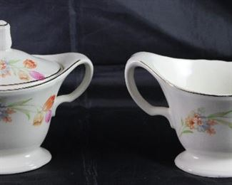 Edwin Knowles China Co. #KNO 1265 Floral Tulips and Daisies Creamer and Sugar Bowl w/Lid
