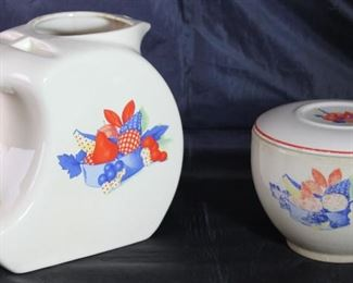 "Universal Pottery Depression Era ""Calico Fruit"" Covered Refrigerator Bowl and Pitcher"