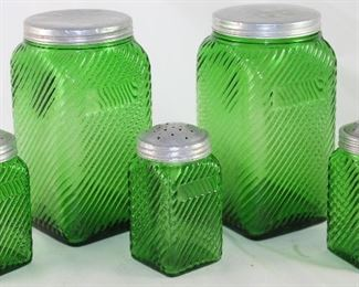 Owens-Illinois Glass Co. Depression Era Forest Green Diagonal Pattern Square Jar Quart Canisters and 3 Spice Jars with Aluminum Lids