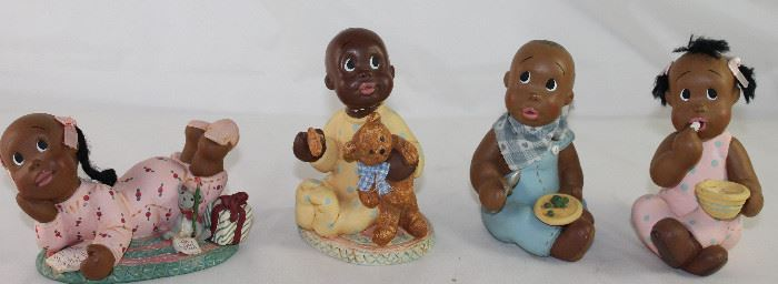 "June Somerfield Figurine Collection:  ""Snooki's"" #184667 c. 1996, ""Willis& Tell Me"" #167959 c. 1995, ""Li'l Mose & Raggy Muffin"" ( not Shown) #167975 c.1995 and Li'l Bev & Patty Cake 167967 c.1995"